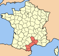 Map of the french Region Languedoc-Roussillon
