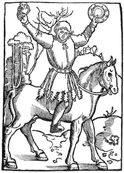 Das Titelblatt des Ulenspiegel zeigt uns Dyls Attribute: Die Eule und den Spiegel sowie ein ausgefranstes Gewand, der Zatteltracht.