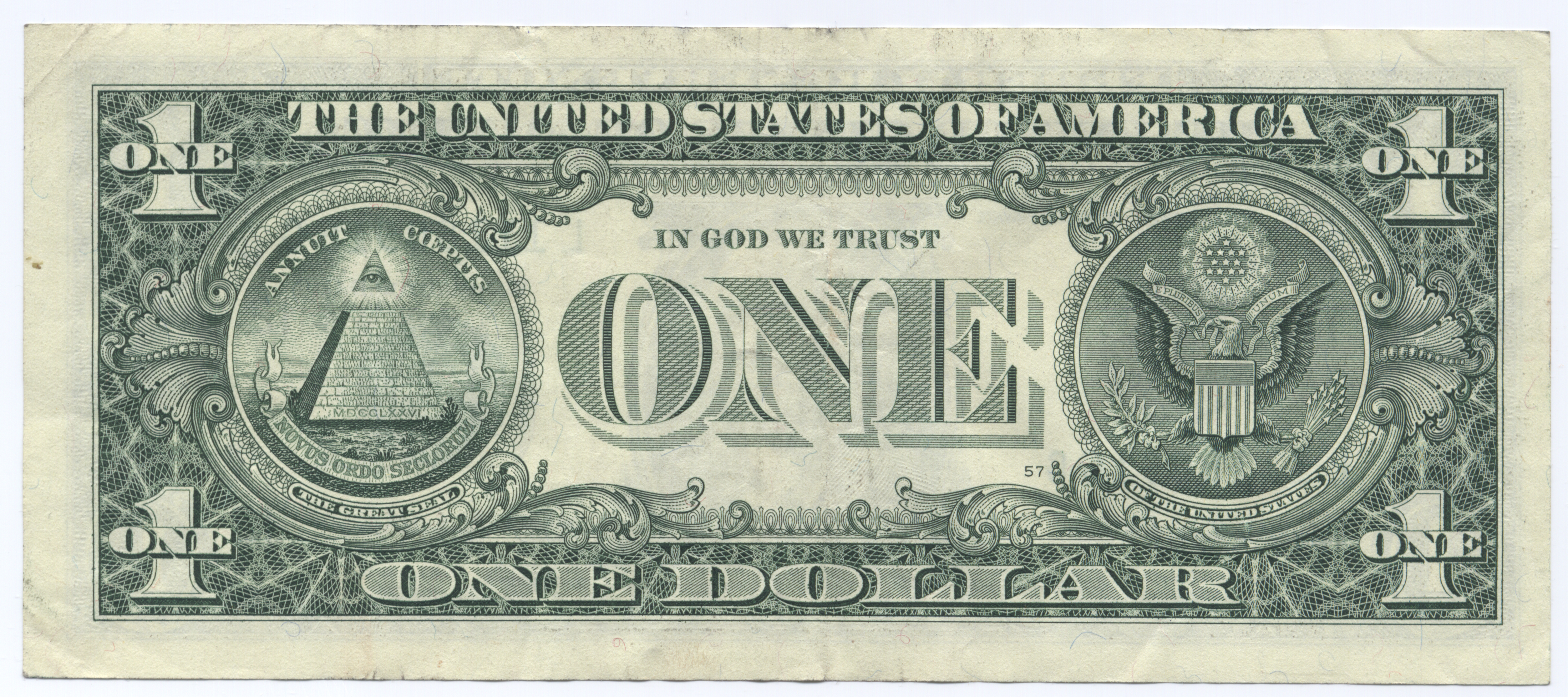 File United States One Dollar Bill Reverse