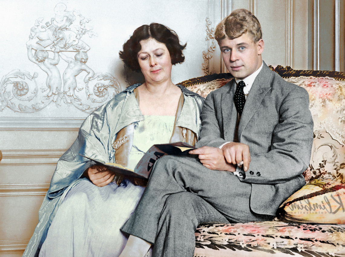 Sergei Yesenin with his wife Isadora Duncan in...