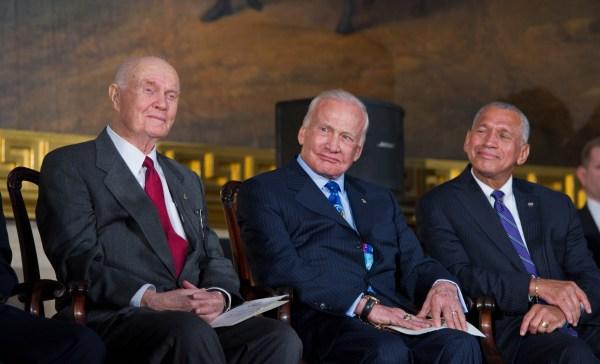 File:John Glenn, Buzz Aldrin, and Charles Bolden at ...