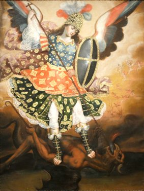 File:18th century oil on canvas titled Saint Michael the Archangel from Cuzco, Peru.jpg