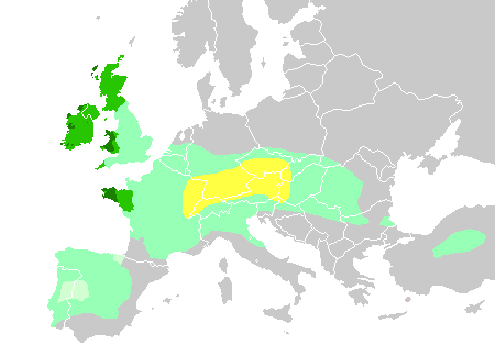 Celts in Europe. For Legend, click the image. Atlas of the Celtic World, by John Haywood; London Thames & Hudson Ltd., 2001, pp.30-37 and other sources. QuartierLatin1968,The Ogre,Dbachmann. Wikimedia Commons.