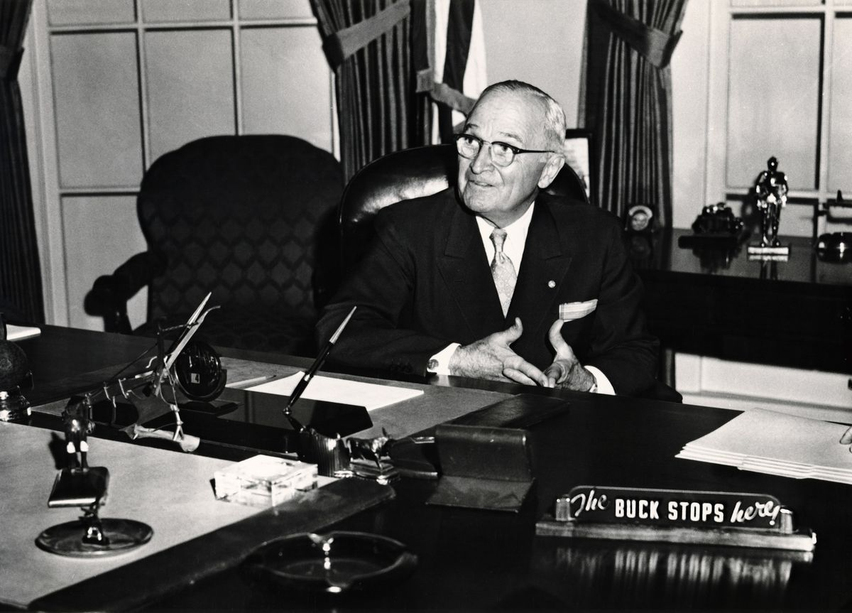 "President Harry Truman with ""The Buck Sto..."