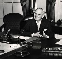 """President Harry Truman with """"The Buck Sto..."""
