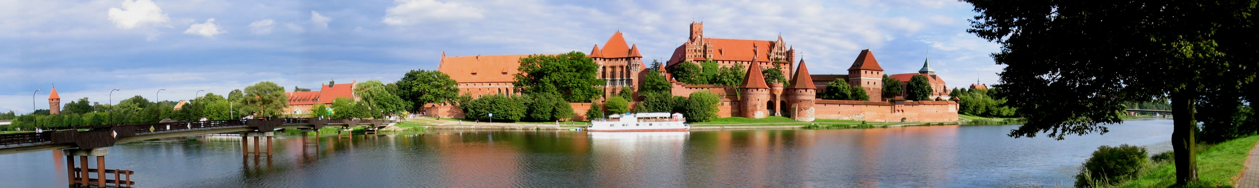 The Castle of the Teutonic Order in Malbork, Poland, is an example of medieval fortresses and built in the typical style of northern German Brick Gothic.
