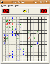 A screenshot of Mines-Perfect, a close alternative for Windows XP's Minesweeper game. From Wikimedia Commons, picture by Dimitri Torterat, See Wikimedia Commons Page for Licensing Information: https://commons.wikimedia.org/wiki/File:Minesperfect_windowsxp.png