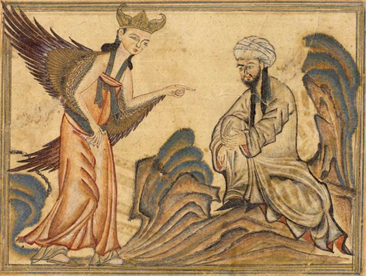 Archivo:Mohammed receiving revelation from the angel Gabriel.jpg