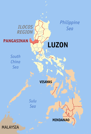 Map of the Philippines with Pangasinan highlighted