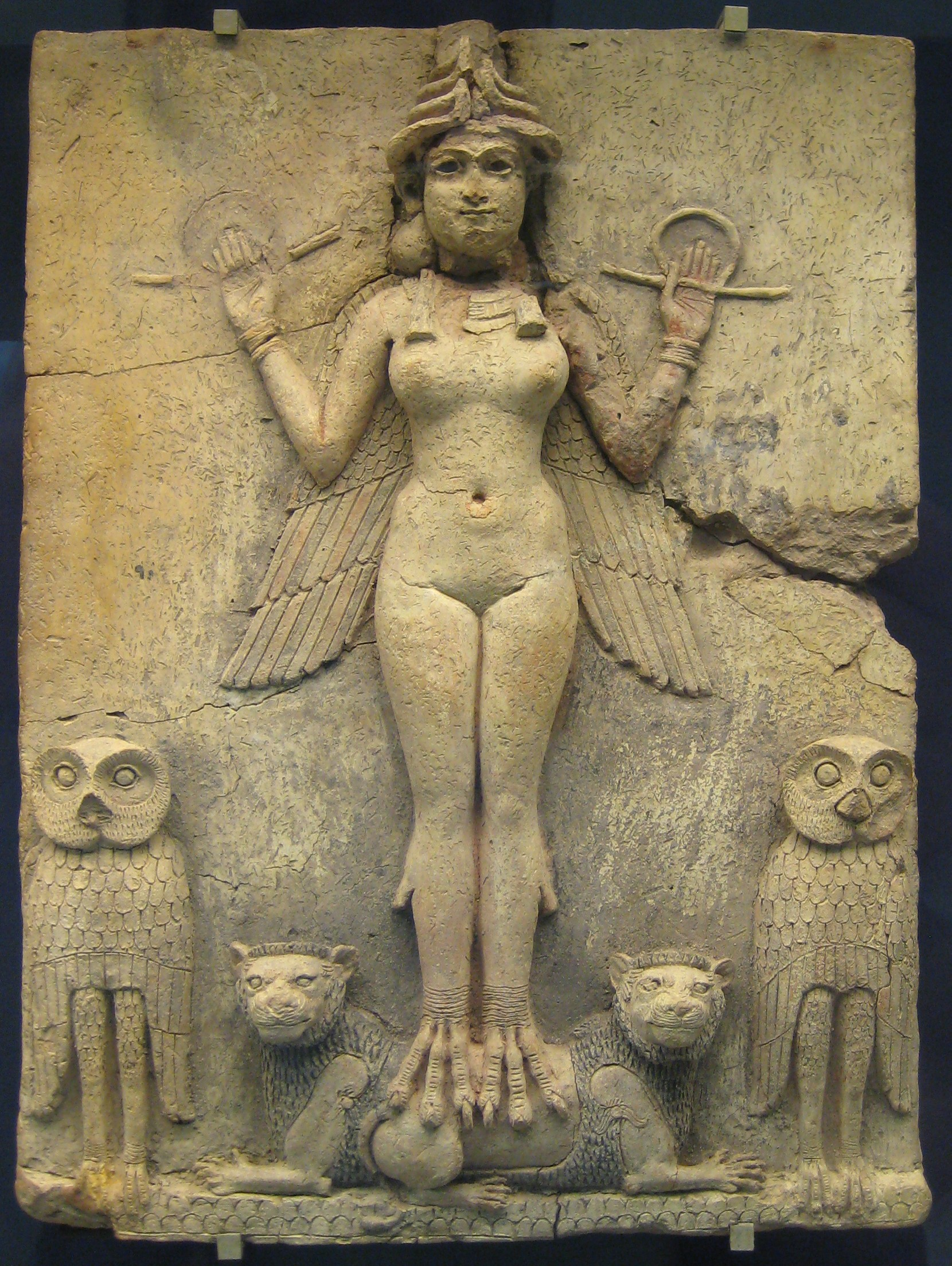 This is the Queen of Night relief from the British museum, depicted with the animal symbols of Ishtar, lionesses and owls.