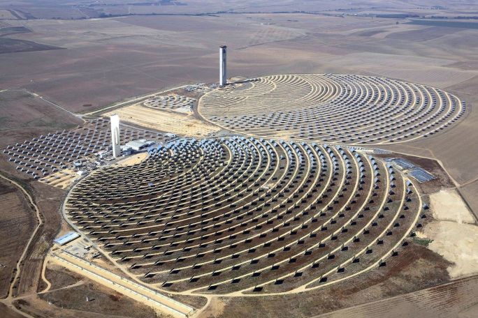 Aerial view of Europe's most powerful solar power towers, near Seville, Spain