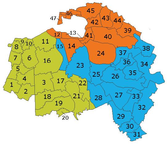 Découpage communal du Val-de-Marne. Le petit arrondissement de L'Haÿ-les-Roses est situé à l'ouest; il ne touche pas l'arrondissement de Nogent-sur-Marne, au nord-est.