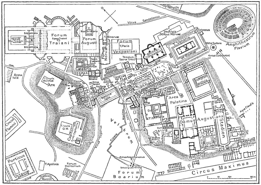 Foro Romano y Coliseo en la antigua Roma