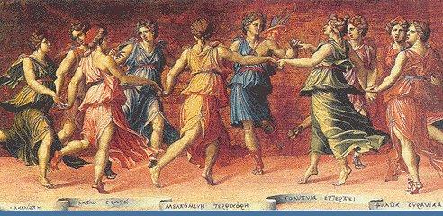 Representación de las musas con Apolo