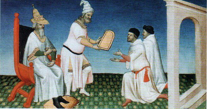Qubilaï donnant une tablette d'or aux frères Polo