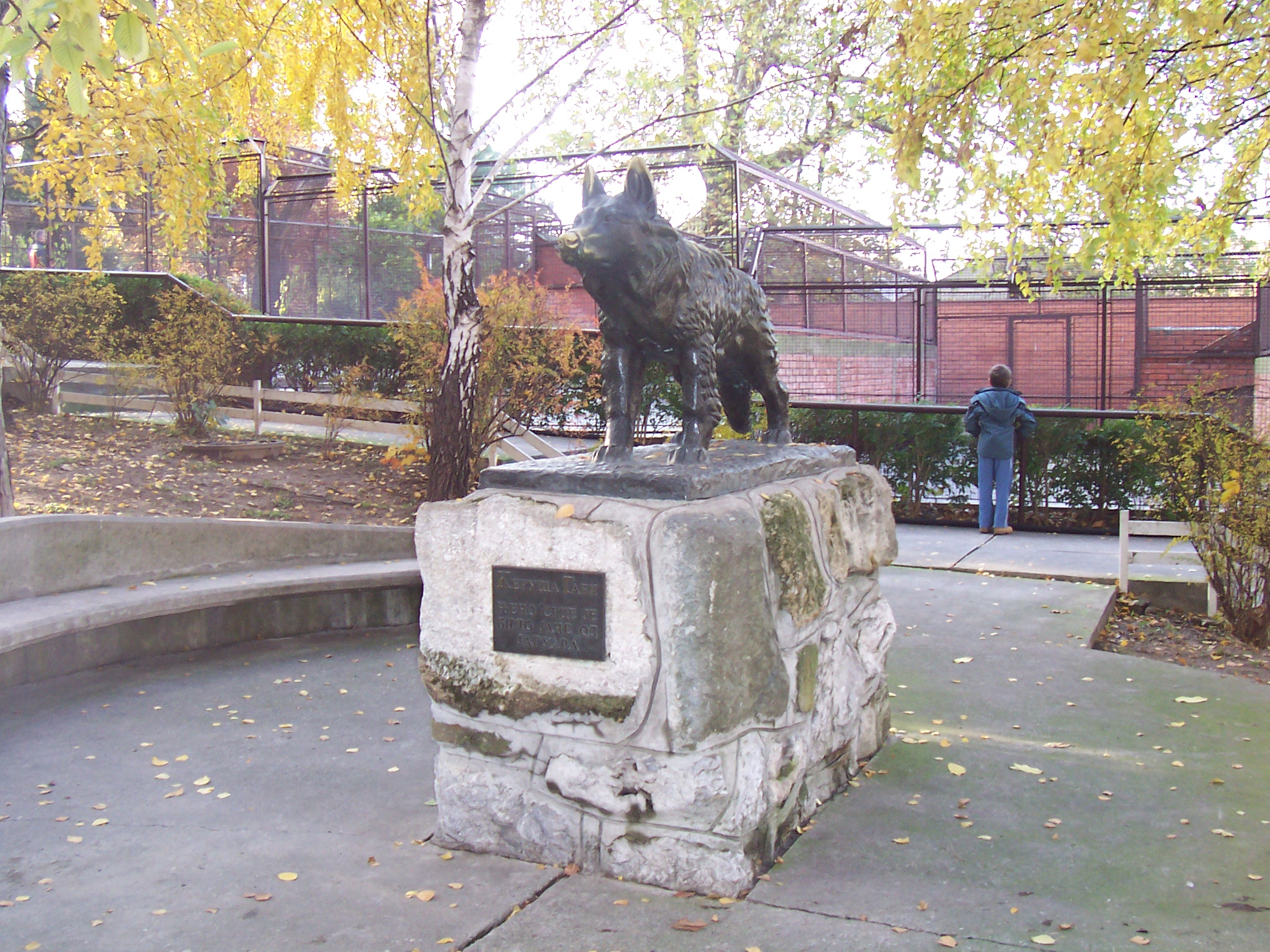 Statue at the Belgrade Zoo dedicated to Gabi, the German Shepherd who battled a puma that had escaped, saving the life of one of the Zoos guards in the process.