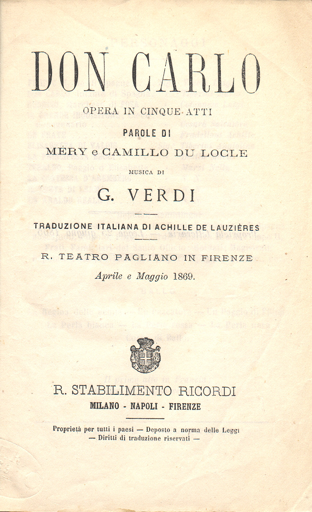 Title page of a libretto for an 1869 performance of Verdi's Don Carlo
