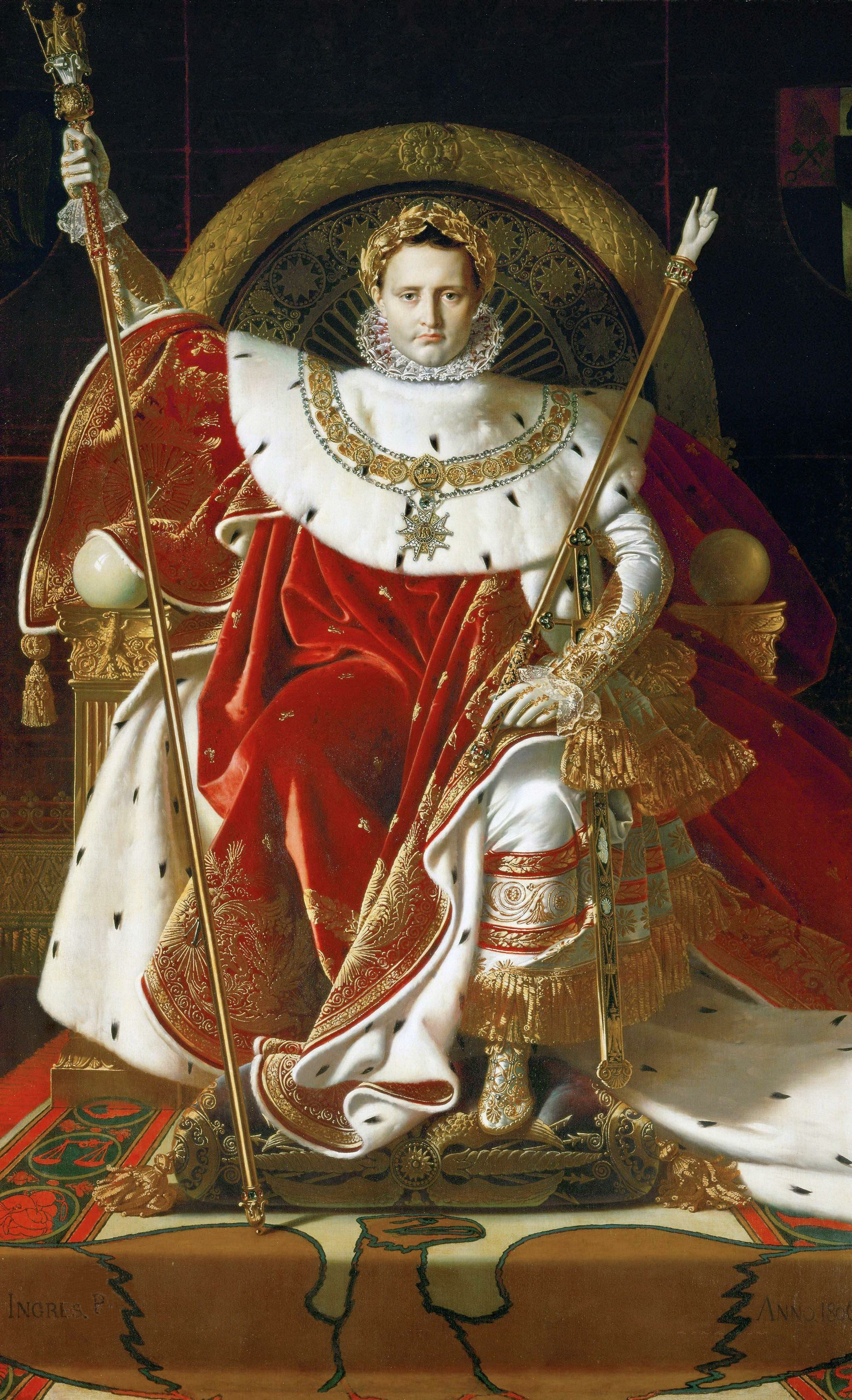 Napoleon on his Imperial throne. Jean Auguste Dominique Ingres (1780-1867).