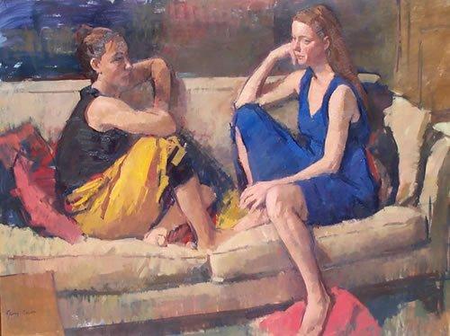Freundinnen, Gemälde von Jerry Weiss, 2003