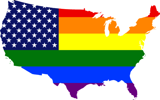 A map of the United States colored in with the US flag; instead of red and white stripes, they are rainbow.