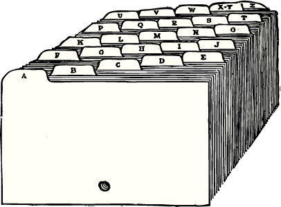 English: A drawing of index cards with tabs. T...