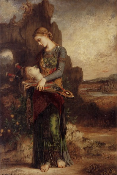 Cursussen bij Moonfrog. Thracian Girl Carrying the Head of Orpheus on His Lyre by Gustave Moreau
