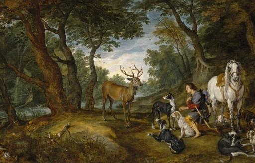 La Visión de San Huberto por Jan Brueghel el Viejo con Rubens