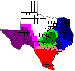 South Texas is depicted in Red and the northernmost counties in a lighter shade of red.
