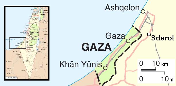 Karte des Gazakonflikts