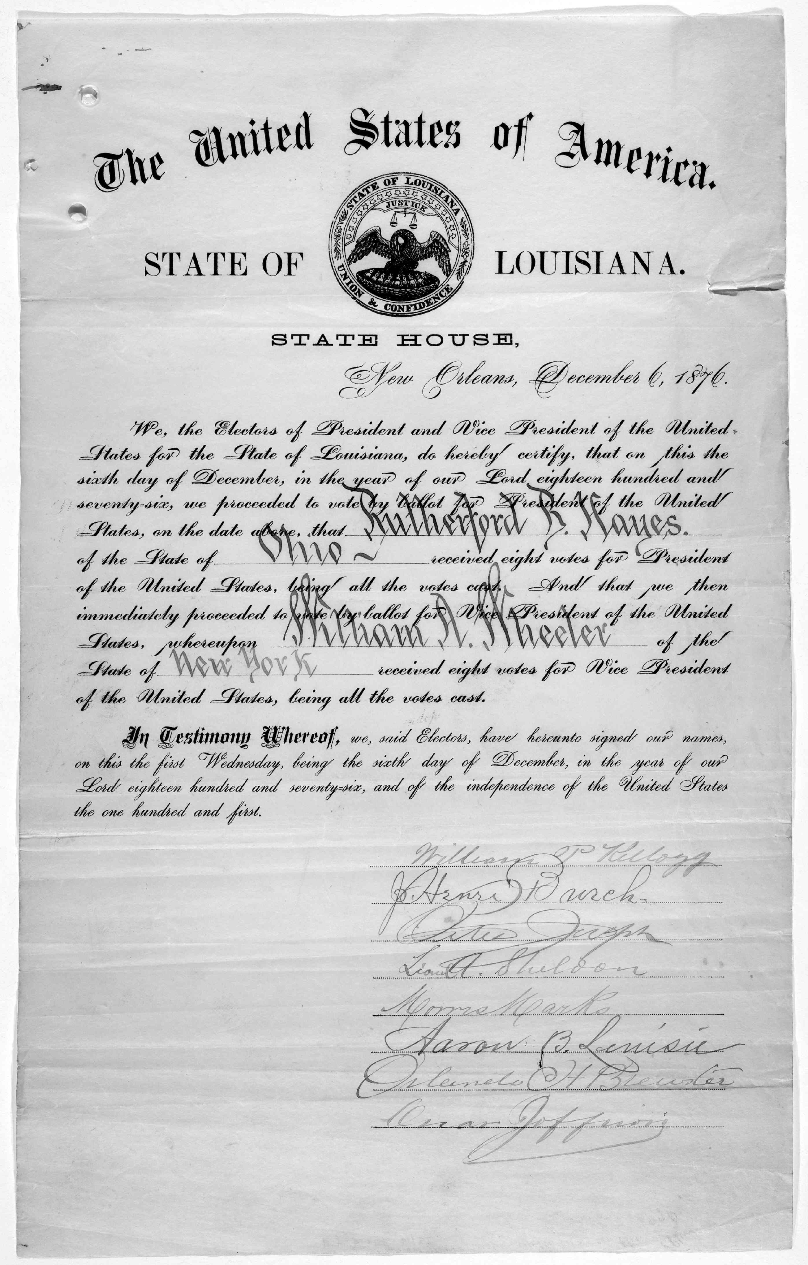 File A Certificate For The Electoral Vote For Rutherford B