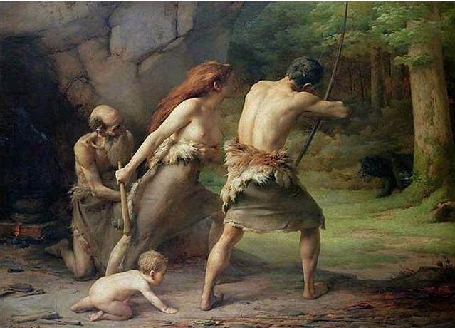 File:Emmanuel Benner - Prehistoric Man Hunting Bears.jpg