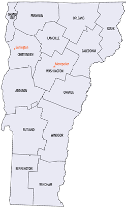 Smaller version of Vermont county map (from PD...