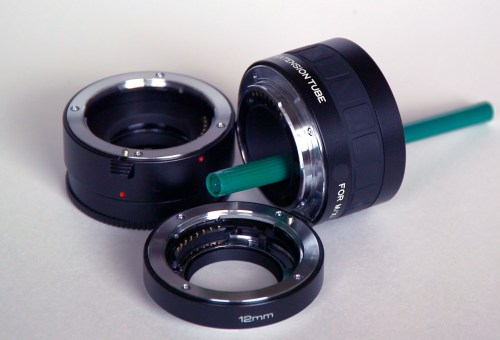 Three electronically enabled macro extension tubes