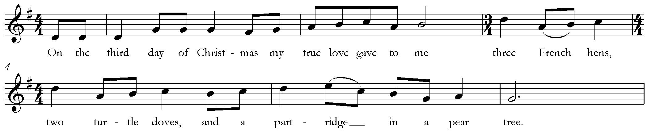 "English: Second verse of ""The Twelve Days..."