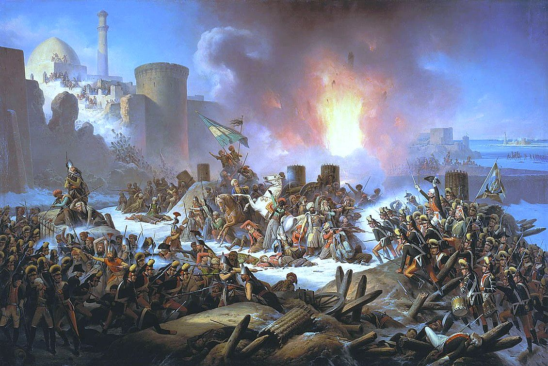 Ottoman forces desperately try to stop the advancing Russian during the assault Ochakov in 1788.