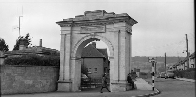 The memorial arch in Stroud circa 1964., near to Whiteshill, Gloucestershire