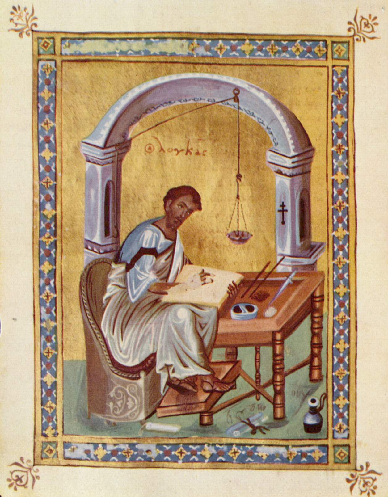 Evangelist Luke writing, Byzantine illumination, 10th century