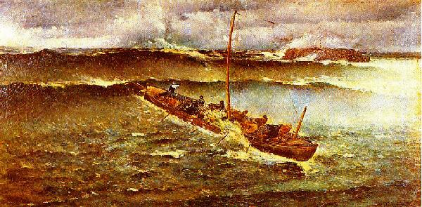 quadre de pescadors càntabres intentant tornar a port enmig duna galerna