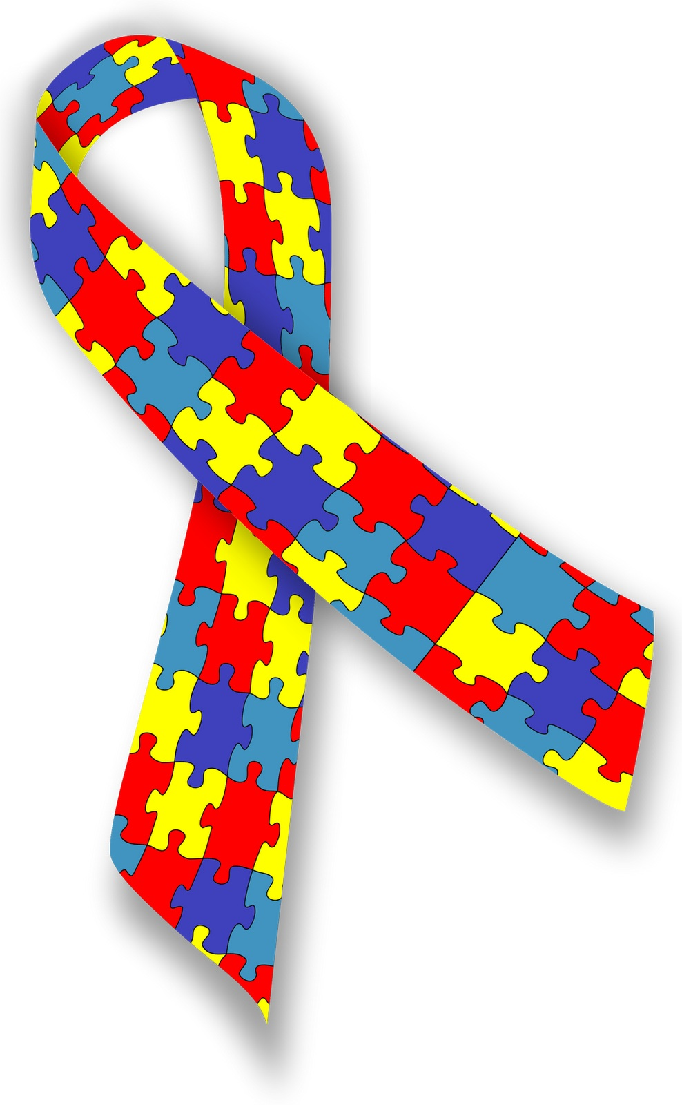 image of a ribbon made of colorful puzzle pieces
