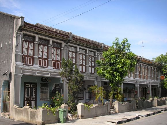 Peranakan-style townhouses. George Town, Penang.