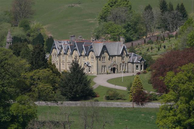English: Abbey Cwmhir Hall seen from the south.