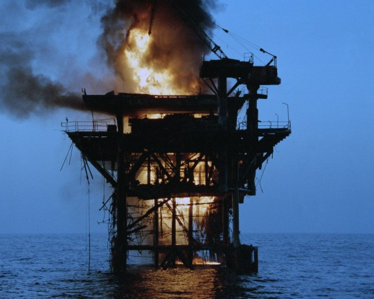 Image result for us hits iranian oil platforms images