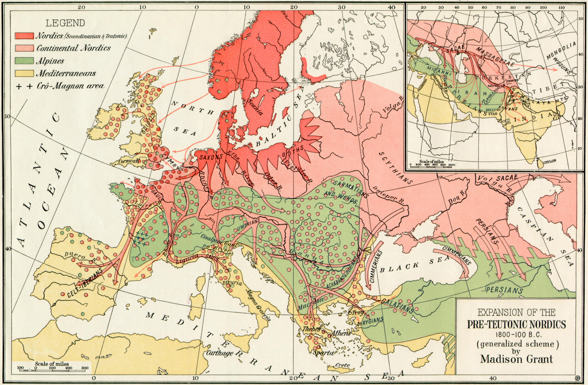 Historical Maps of Europe Expansion of the Pre Teutonic Nordics  1800 100 BC