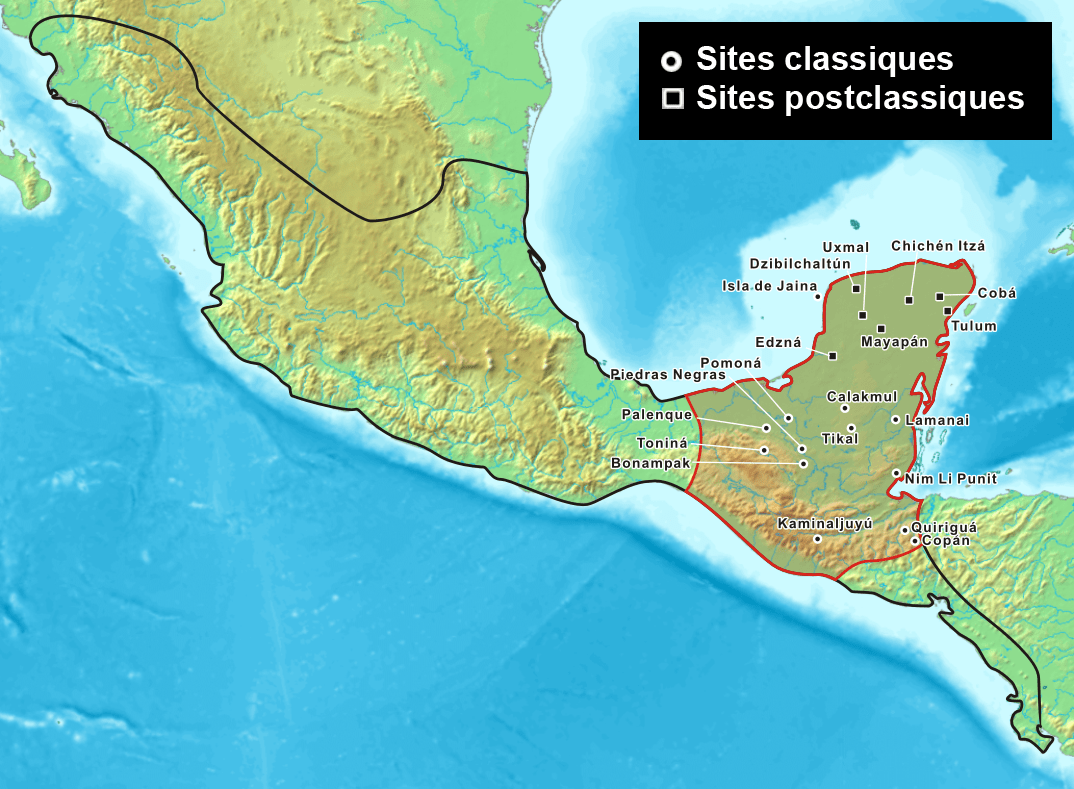 Les sites mayas - Wikicommons