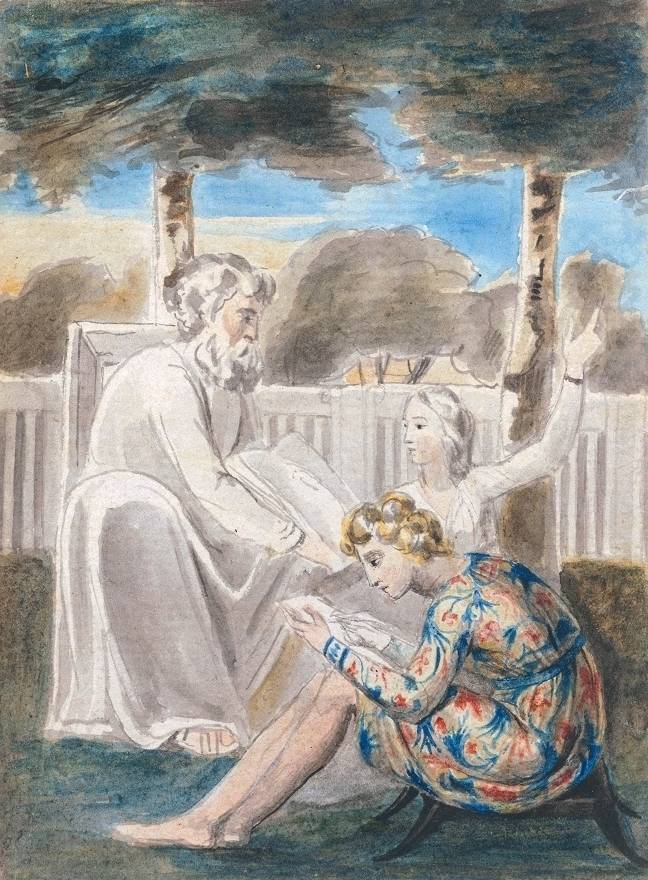 "William Blake's watercolor ""Age Teaching Youth"""
