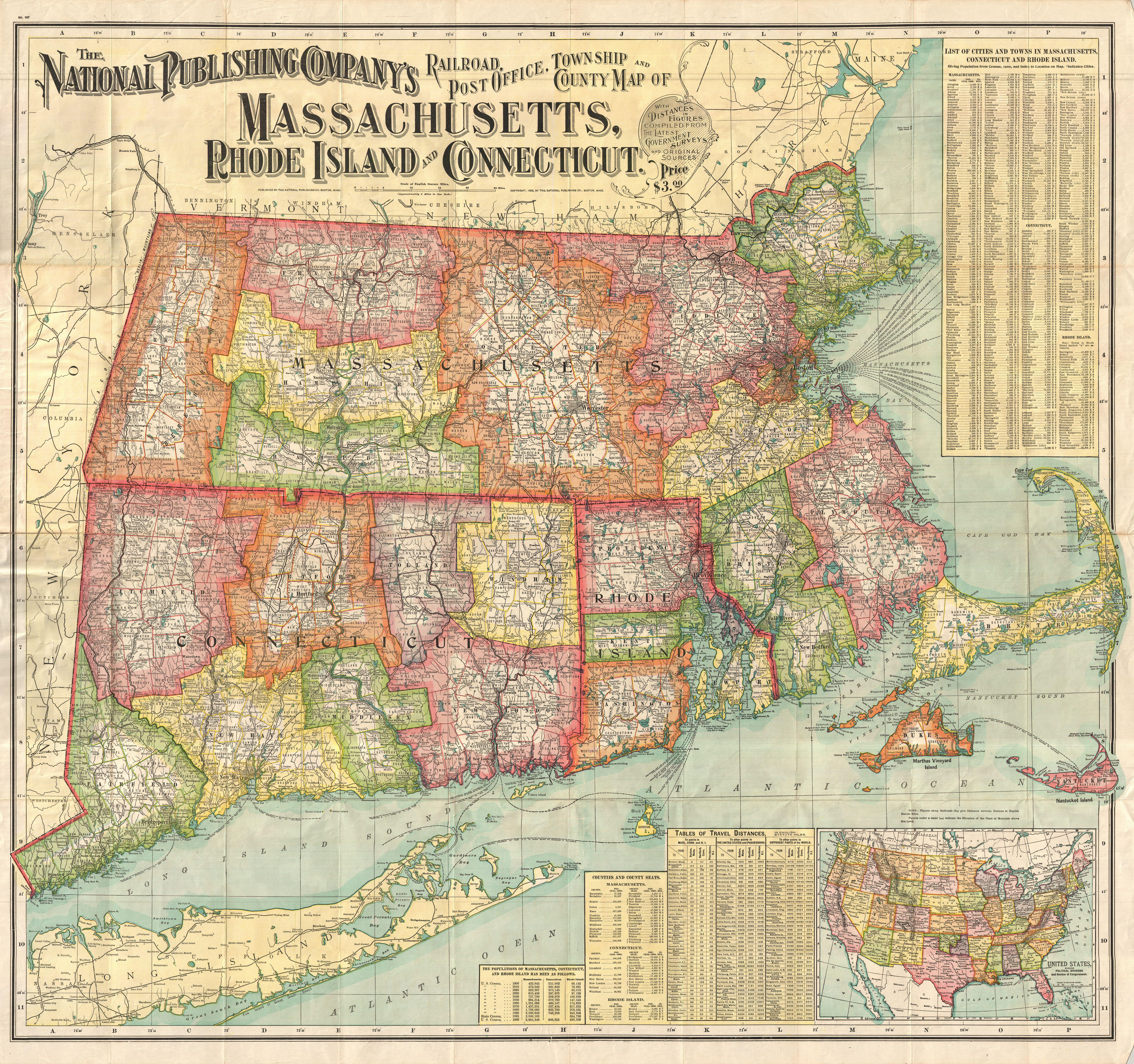 File 1900 National Publishing Railroad Map of Connecticut     File 1900 National Publishing Railroad Map of Connecticut  Massachusetts   and Rhode Island