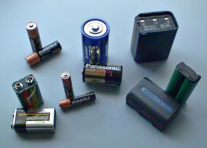 "Various batteries: two 9-volt, two ""AAA&q..."
