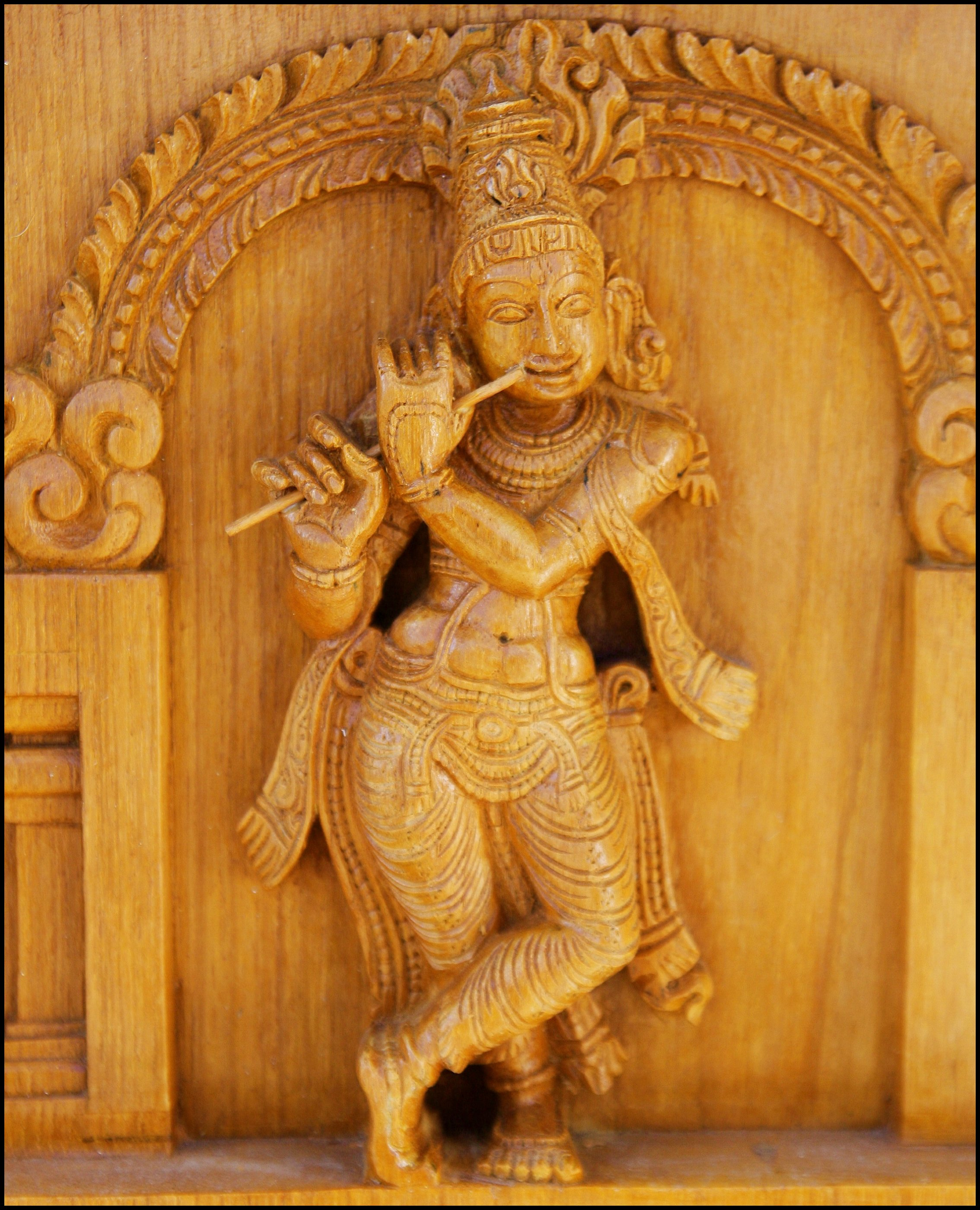 Wood carving detail of the Hindu temple of Gre...