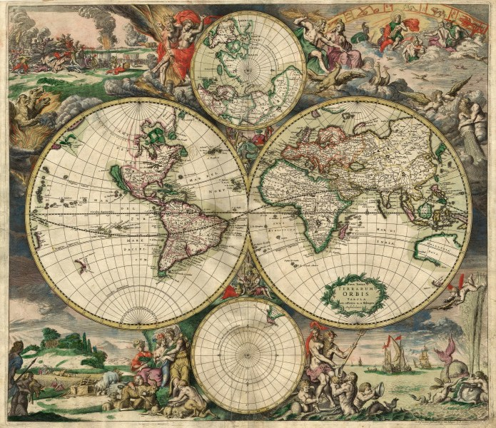 Map   Wikipedia World map by Gerard van Shagen  Amsterdam  1689
