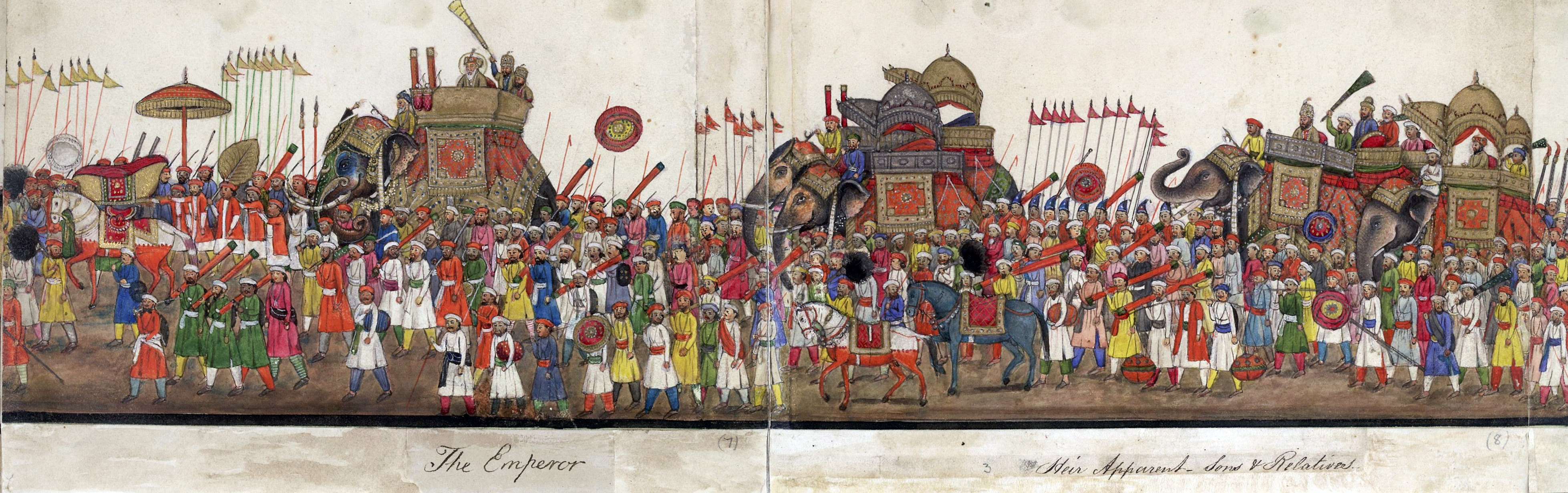 A panorama in 12 folds showing the procession of the last Mughal Emperor Bahadur Shah II to celebrate the feast of the Eid ul-Fitr in 1843.